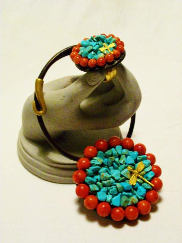 Comprar Medalhao y Anillo de turquezas y coral rojo