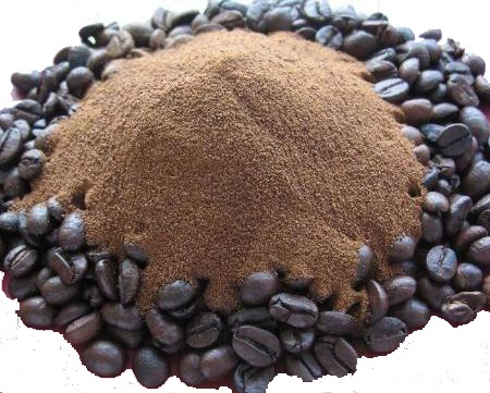 Coffee grains, roasted, and milled