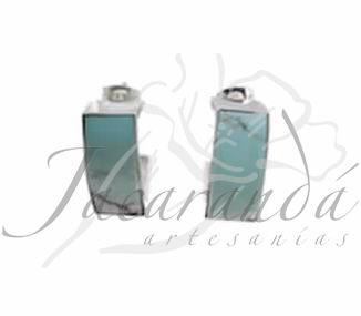 Comprar Pendiente plata y turquesa medio aro rectangular