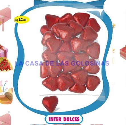Comprar Corazones de chocolate envueltos interdulces 1Kg 140 unidades.