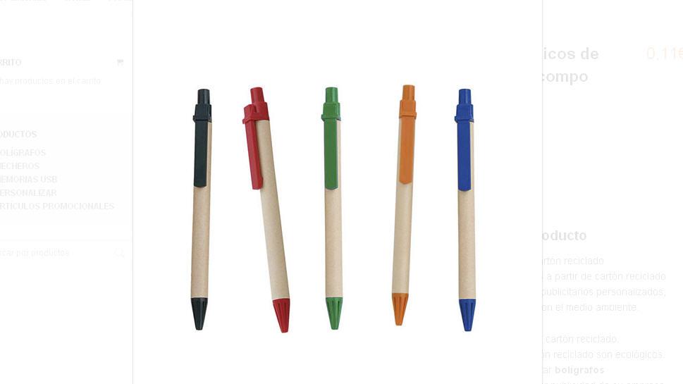 Comprar Bolígrafos ecológicos de cartón reciclado compo