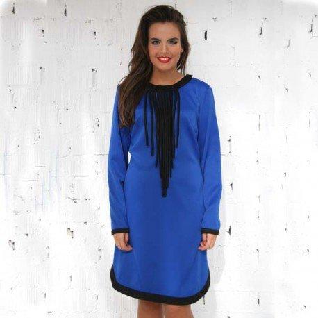 Vestido Color azul Con Cuello Desmontable PenadeSuerte
