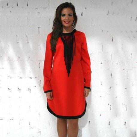 Vestido Color Rojo Con Cuello Desmontable PenadeSuerte