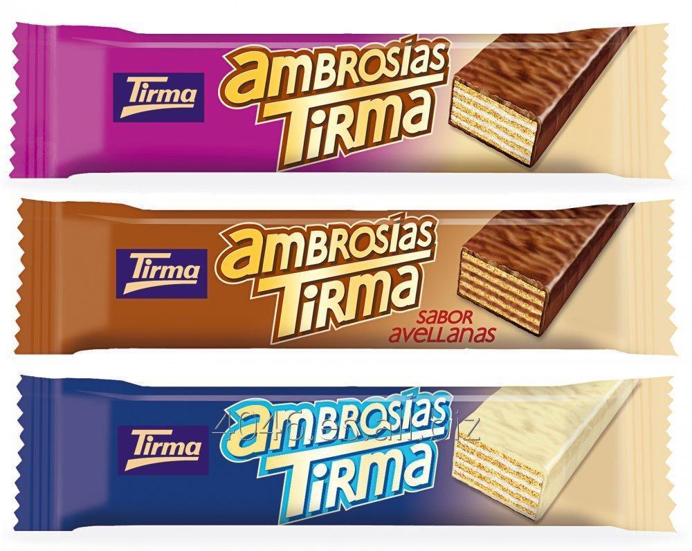 Comprar Ambrosias Tirma wafers, chocolate leche, blanco y avellanas, piezas individuales de 21,5g