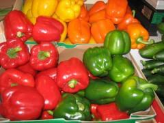 Pimientos rojos , verdes , amarillos ,  naranjas