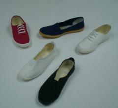 Zapatilla roja y blanca
