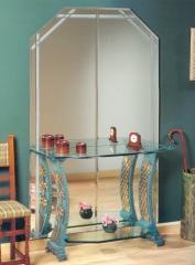 Espejo mural biselado con cenefa mixta