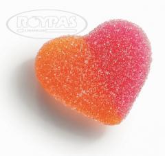 Corazones melocotón azúcar