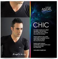 "Camiseta negra ""Cuello V"" SEÑOR ANGEL MOD10"