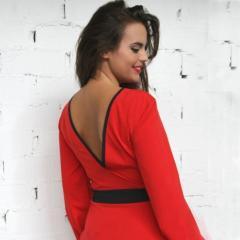 Vestido rojo escote espalda PenadeSuerte