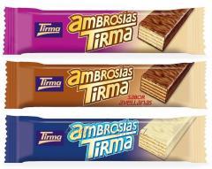 Ambrosias Tirma wafers, chocolate leche, blanco y avellanas, piezas individuales de 21,5g