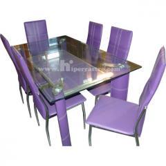 Mesa de Cristal y juego 6 sillas Piel Sintética