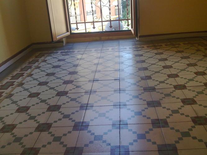 Pedido Tratamiento y vitrificado de pavimento hidraúlico y mosaico